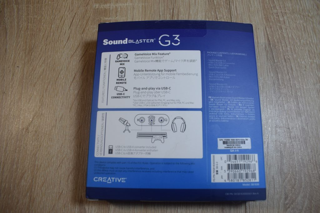 sound blaster g3 game it