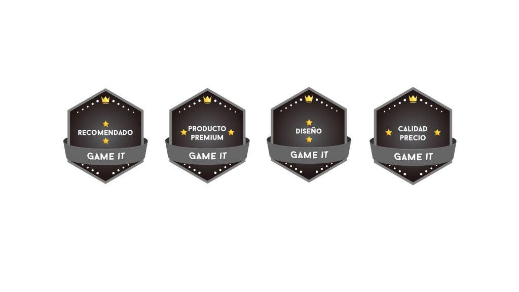 Galardones de Recomendado, Producto Premium, Diseño y Calidad Precio de Game It