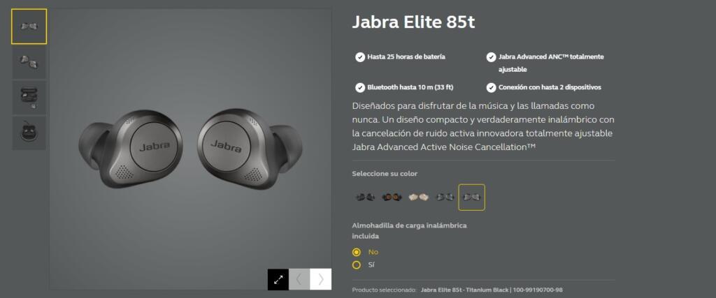 especificaciones de los auriculares jabra elite 85t